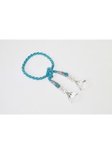 Kanca Ev Kristal Sallantılı Halat Peçetelik, Mavi-Gümüş Mavi